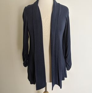 Knit open front shawl collar cardigan in Navy
